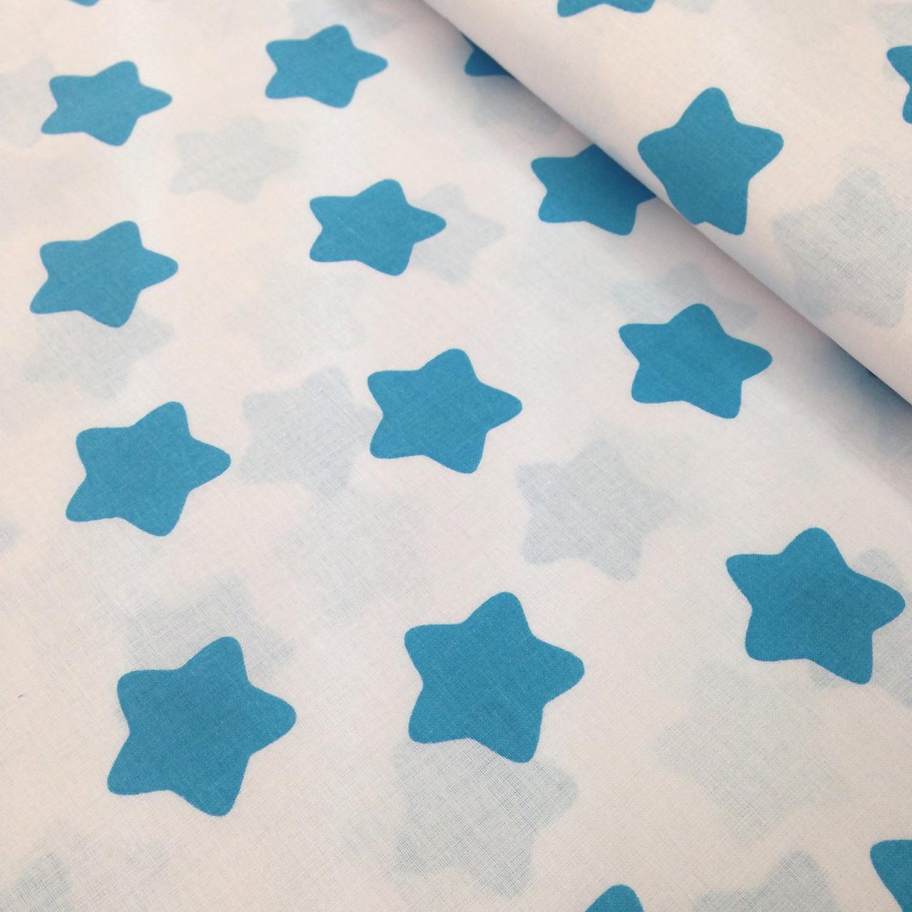 Хлопковая ткань польская звезды крупные бирюзовые (пряники) на белом отрез (размер 0,4*1,6 м)