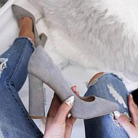 Серые   женские туфли толстый каблук