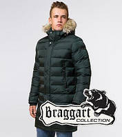 Куртка длинная с мехом Braggart Aggressive -39482 темно-зеленый, фото 1