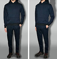 Трикотажний спортивний костюм теплий тканина турція Темно-синий