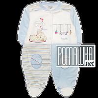 Человечек велюровый р. 68 демисезонный для новорожденного ткань ВЕЛЮР подкладка махра 4590 Голубой