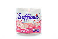 Туалетная бумага двухслойная на гильзе белая c розовым тиснением Soffione Decoro (4шт)