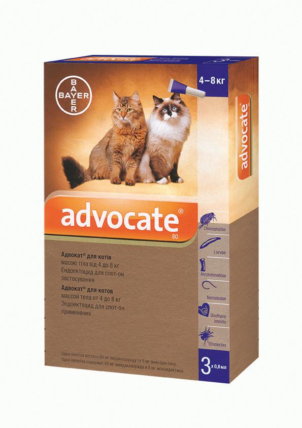 Капли Bayer Advocate (Адвокат) комплексные  паразитов для кошек свыше 4 кг
