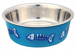 Миска Trixie Stainless Steel Bowl для кошек, металл, прорезиненное основание, 0.3 л