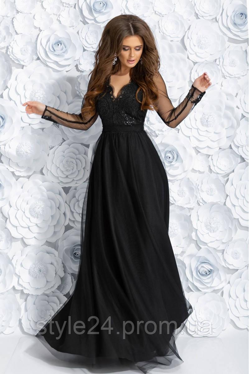 Шикарне довге плаття з гіпюром та рукавами з вишивкою.Р-ри 42-46