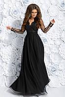 Шикарне довге плаття з гіпюром та рукавами з вишивкою.Р-ри 42-46, фото 1