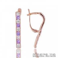 Золотые серьги с лиловыми камнями Дорожка 3875