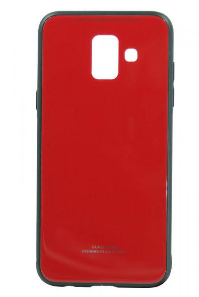 """Накладка Samsung A6+ 2018 """"Glass Case"""" Красная"""