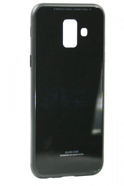 "Накладка Samsung A6+ 2018 ""Glass Case"" Черная"