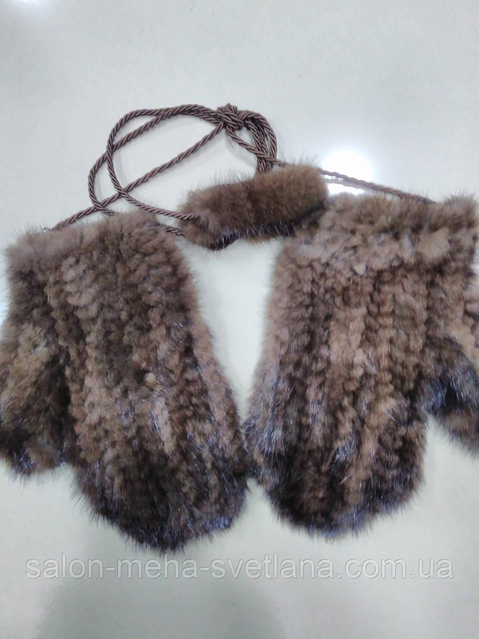варежки из канадской вязаной норки цвет махагон коричневыйочень