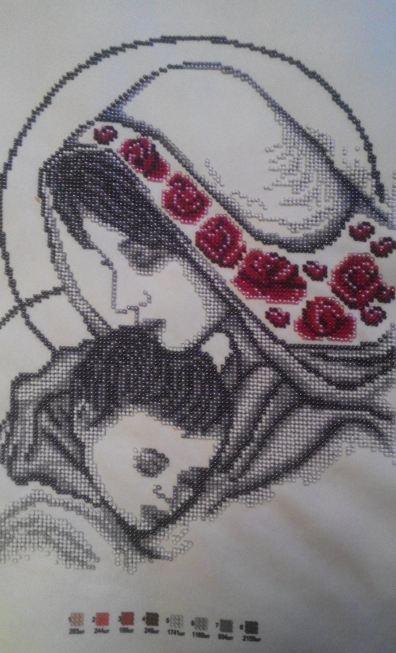 "Картина из бисера ""Мадонна с младенцем"" (ручная работа), 800"