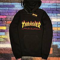 Толстовка чёрная Thrasher Mag | худи Трешер | кенгуру трашер