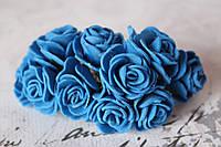 Букетик розочек 2,5 см диаметр мини 12 шт. синего цвета на стебле, фото 1