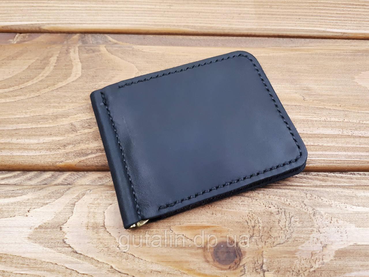 Зажим для денег из натуральной кожи ручной работы Тип 1 цвет черный