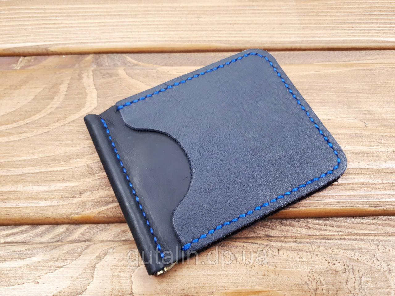 Зажим для денег из натуральной кожи ручной работы Тип 2 цвет черный