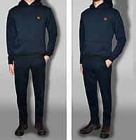 Трикотажний спортивний костюм теплий, колір темно-синій тканина трьохнитка