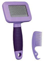 Пуходерка+расческа Trixie Soft Brush для грызунов, 7х13 см