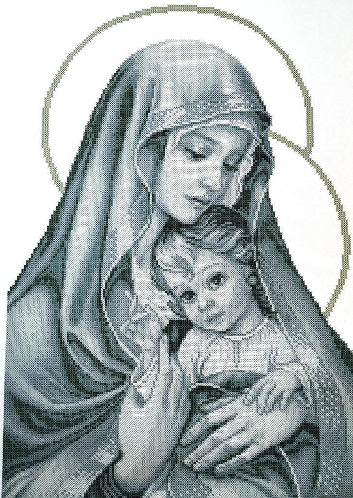 КРВ-62. Схема для вишивки бісером Мадонна і дитя.(срібло)