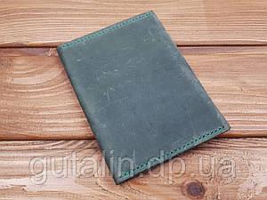 Обкладинка для документів з натуральної шкіри ручної роботи колір зелений