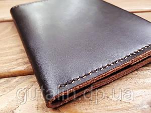 Обкладинка для документів з натуральної шкіри ручної роботи колір коричневий