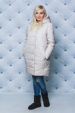 Пальто женское зимнее на кнопках беж, фото 2