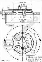 Диск тормозной задний  GALAXY/ALHAMBRA/SHARAN/T4 после 2006,  08917610 Brembo