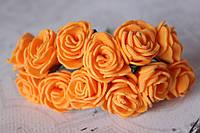 Букетик розочек 2,5 см диаметр мини 12 шт. оранжевого цвета на стебле, фото 1