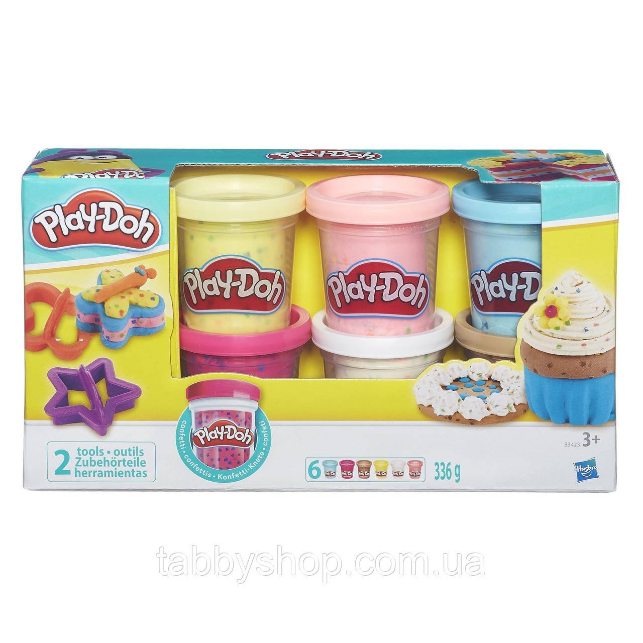Набор пластилина 6 баночек с конфетти HASBRO Play Doh