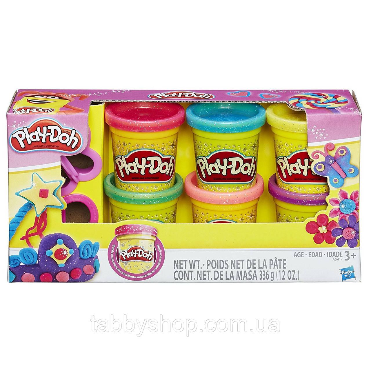 Набор пластилина 6 баночек с блёстками HASBRO Play Doh