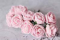 Букетик розочек 2,5 см диаметр мини 12 шт. нежно-розового цвета на стебле, фото 1