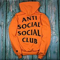 Толстовка с принтом Anti Social social club Paranoid Undefeated   оранжевая худи