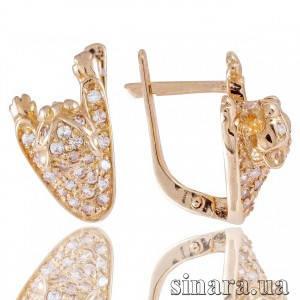 Золотые серьги с цирконием Пантера 3771