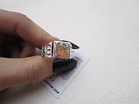"""Мужской серебряный перстень с золотой пластиной """"Нотердам"""", фото 1"""