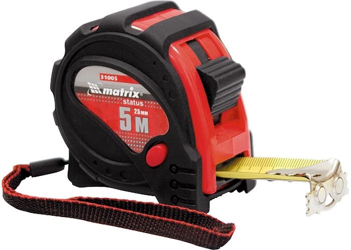 Рулетка Status magnet 3 fixations, 7, 5 м х 25 мм, прорезиненный корпус, зацеп с магнитом // MTX 310069