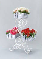 Кованная подставка для цветов S 3 кантри (3 кашпо)
