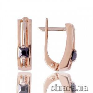 Золотые серьги с черным цирконием Классика 523