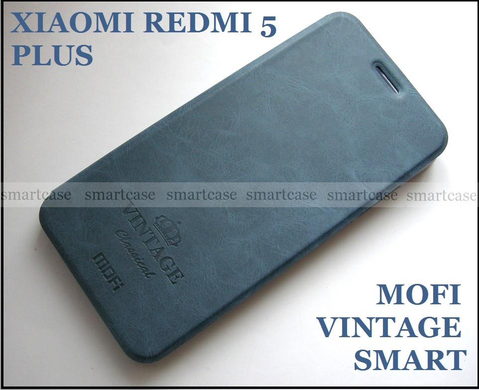 Синий оригинальный чехол книжка Xiaomi Redmi 5 Plus Mofi Vintage Classical+ Smart cover