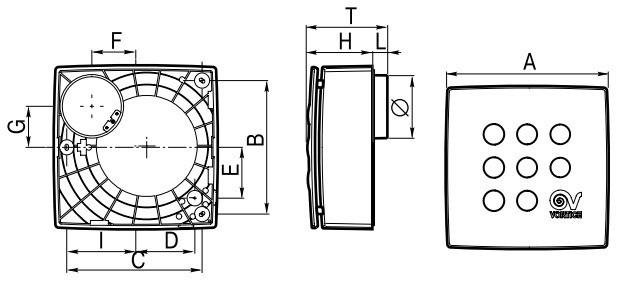 Габаритные размеры вытяжного вентилятора Vortice Quadro