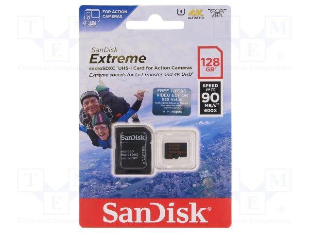 Карта памяти SanDisk Extreme microSDXC сlass10 A1 V30 UHS-I U3 128GB + SDадаптер(SDSQXVF-128G-GN6АА)