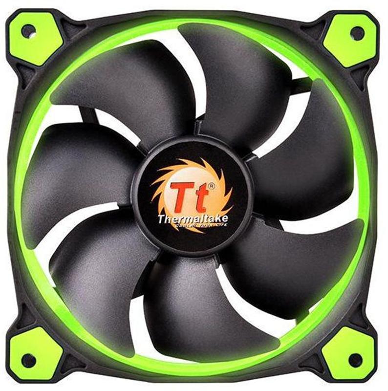 Вентилятор Thermaltake Riing 14 LED Green (CL-F039-PL14GR-A), 140х140х25 мм, 3pin, черный