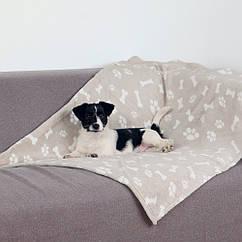 Коврик Trixie Kenny Blanket плюшевый, бежевый с принтом, 100х150 см