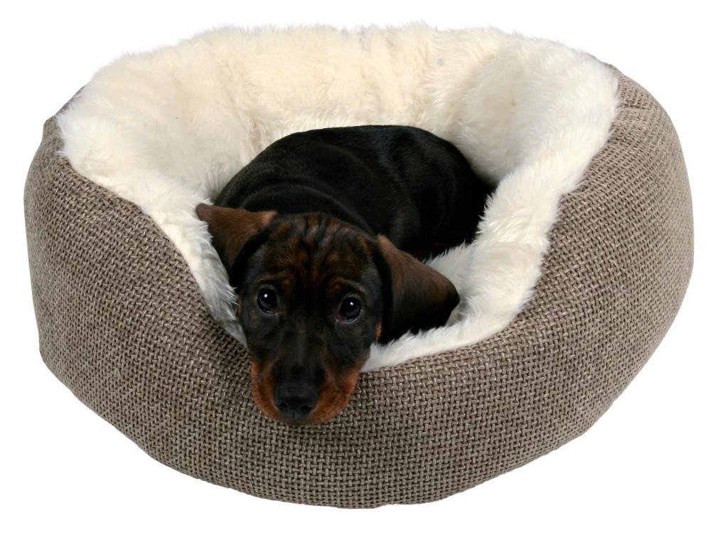 Лежак Trixie Yuma ткань и искусственный мех, бело-коричневый, 45 см