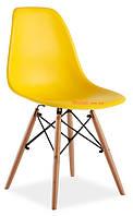 Стул пластиковый желтый в современном стиле Nik для баров, кафе, ресторанов, стильных квартир
