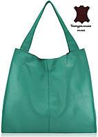 Кожаная вместительная женская сумка-шопер Mesho  бирюзовая