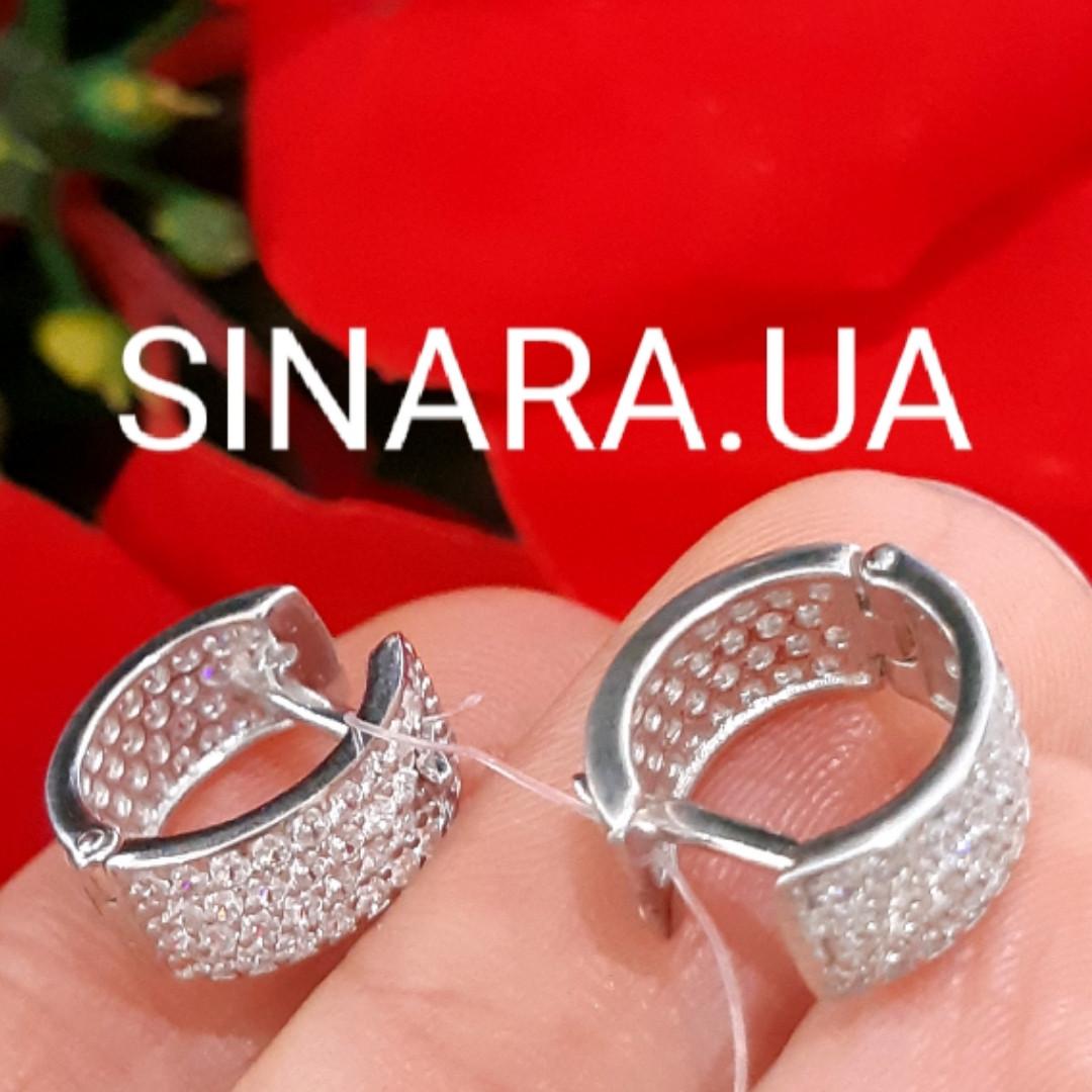 Серебряные серьги широкие колечки усыпанные камнями - Серьги с фианитами двусторонние серебро