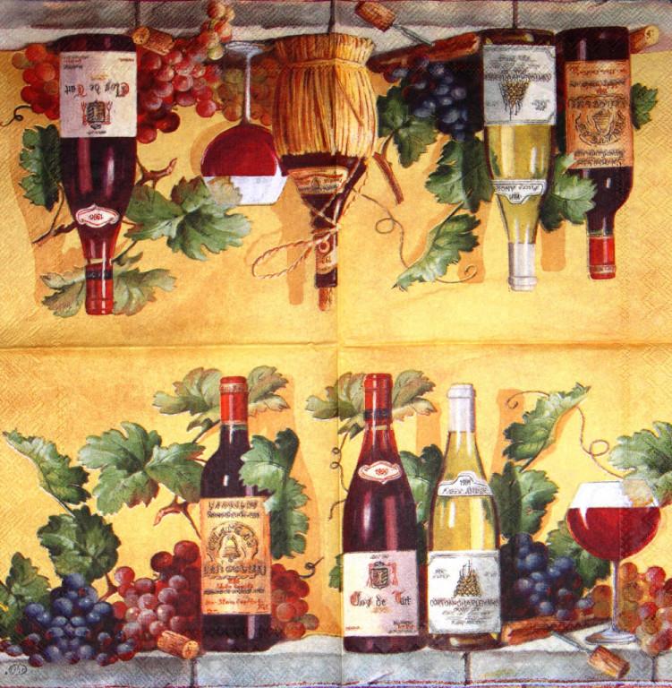 Редкая салфетка декупажная Вино 3188