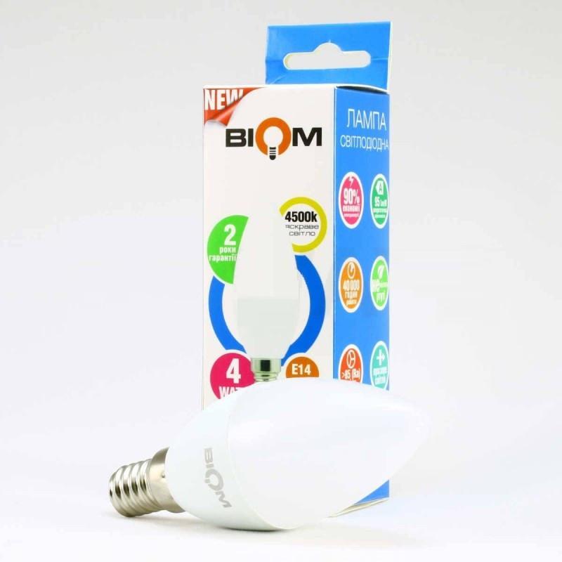 Светодиодная лампа Biom BT-549 C37 4W E14 3000К матовая (теплый белый)