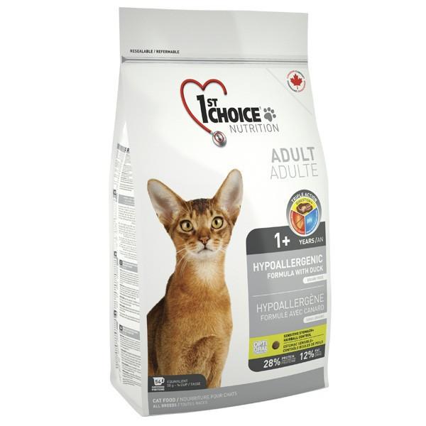 Сухой корм для взрослых котов 1st Choice Adult Hypoallergenic гипоаллергенный утка и картошка 2.72 кг
