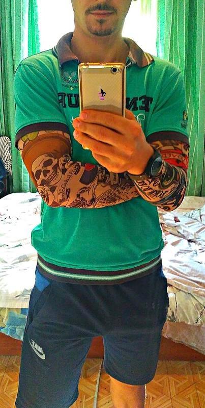Экстримальный тату-рукав с зеленым драконом