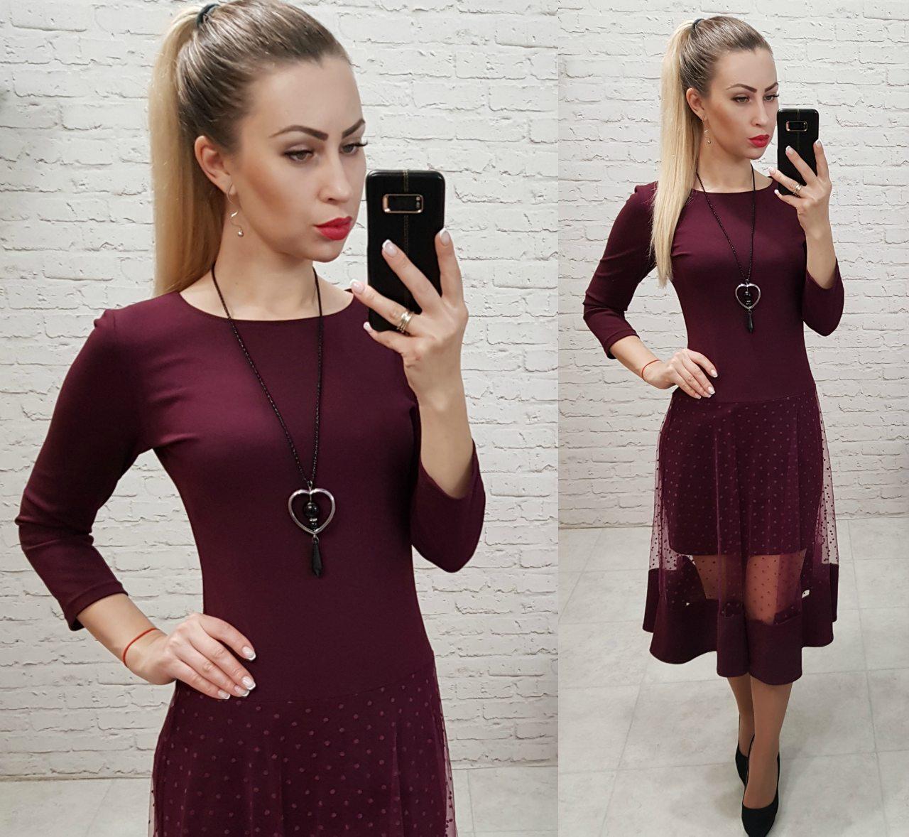 Платье нарядное, креп+сетка, модель 146, в 5-ти расцветках